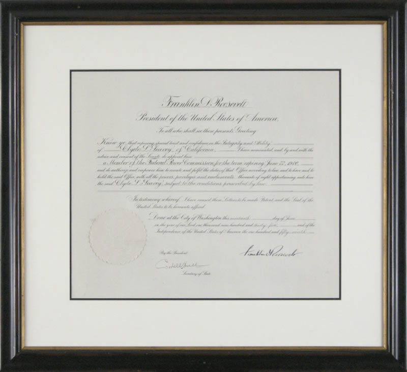 Image 1 for President Franklin D. Roosevelt - Civil Appointment Signed 06/19/1936 co-signed by: Cordell Hull - HFSID 279374