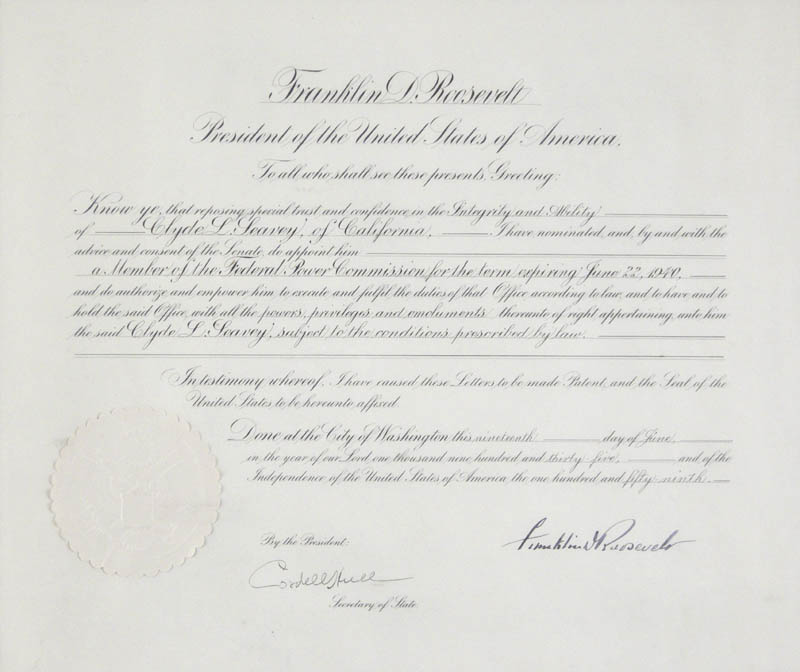 Image 3 for President Franklin D. Roosevelt - Civil Appointment Signed 06/19/1936 co-signed by: Cordell Hull - HFSID 279374