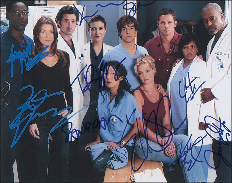 Greys Anatomy Tv Cast Photograph Mount Signed With Cosigners