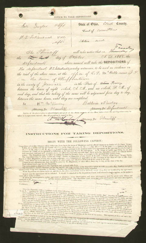 Image 1 for President William Mckinley - Manuscript Document Signed 10/20/1868 - HFSID 279541