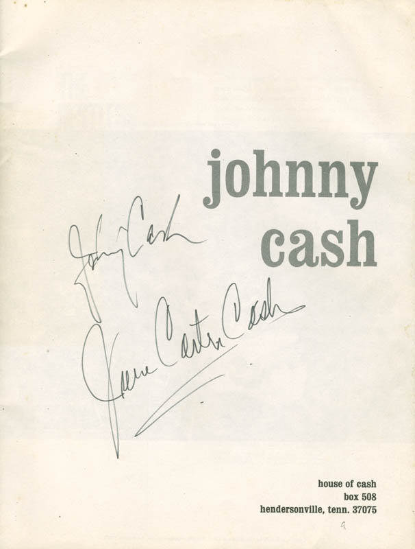 Image 1 for Johnny Cash - Program Signed co-signed by: June Carter Cash - HFSID 279542