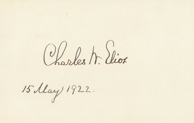 Image 1 for Charles W. Eliot - Autograph 05/15/1922 - HFSID 27958