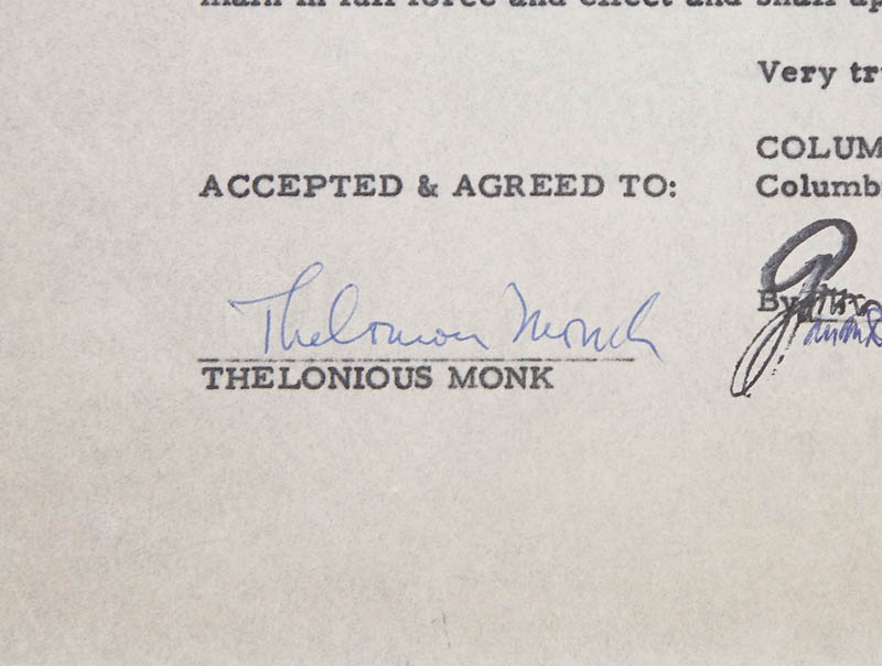Image 3 for Thelonious S. Monk - Document Signed 09/23/1963 - HFSID 279599