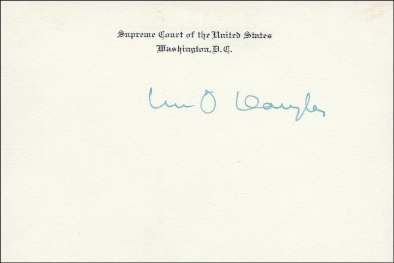 Image 1 for Associate Justice William O. Douglas - Supreme Court Card Signed - HFSID 2796
