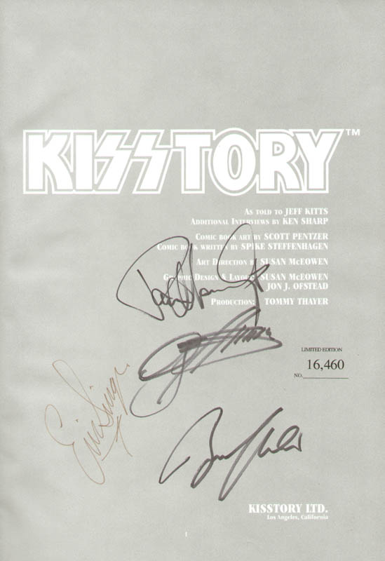 Image 1 for Kiss - Book Signed co-signed by: Kiss (Gene Simmons), Kiss (Paul Stanley), Kiss (Bruce Kulick), Kiss (Eric Singer) - HFSID 279622