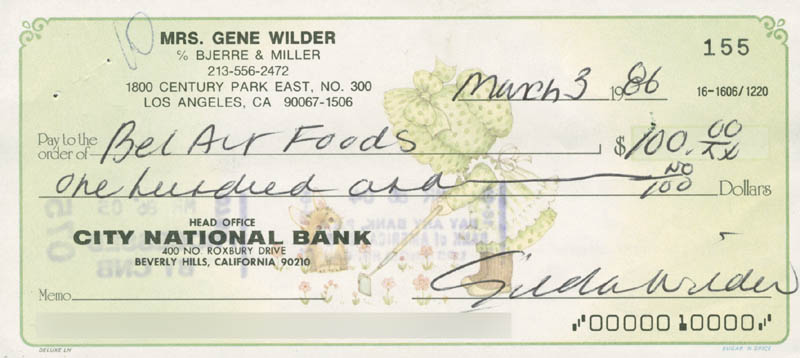Image 1 for Gilda Radner - Autographed Signed Check 03/03/1986 - HFSID 279656