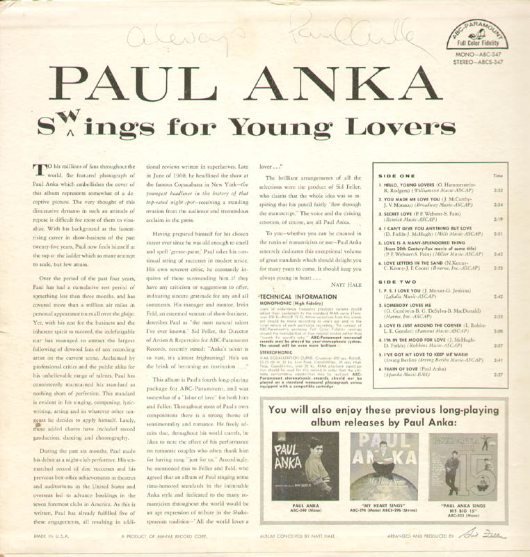 Image 4 for Paul Anka - Record Album Cover Signed - HFSID 279657