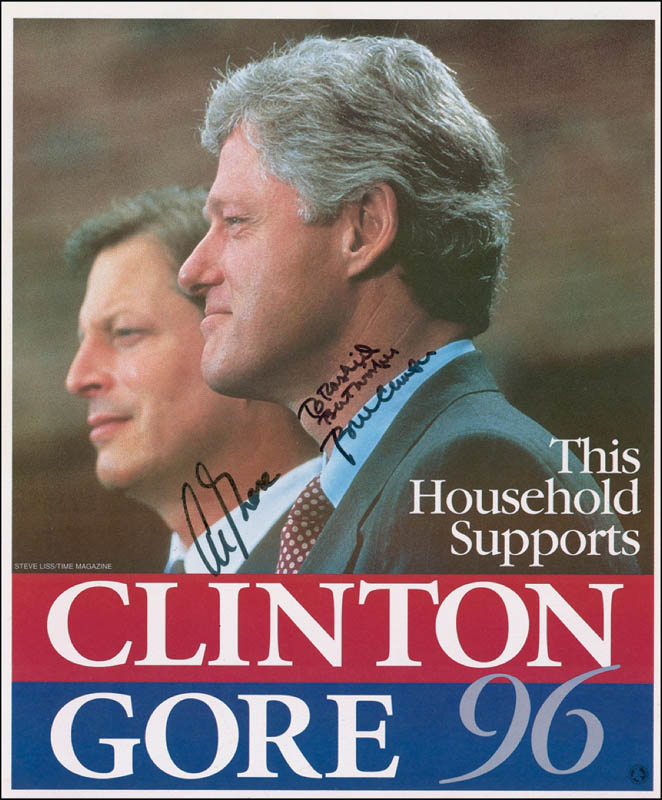 Image 1 for President William J. 'Bill' Clinton - Autographed Inscribed Photograph Circa 1996 co-signed by: Vice President Albert Gore Jr. - HFSID 279712