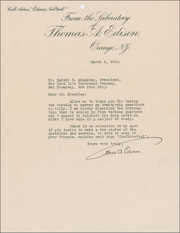 letter of indemnity a edison typed letter signed 03 01 1922 1399