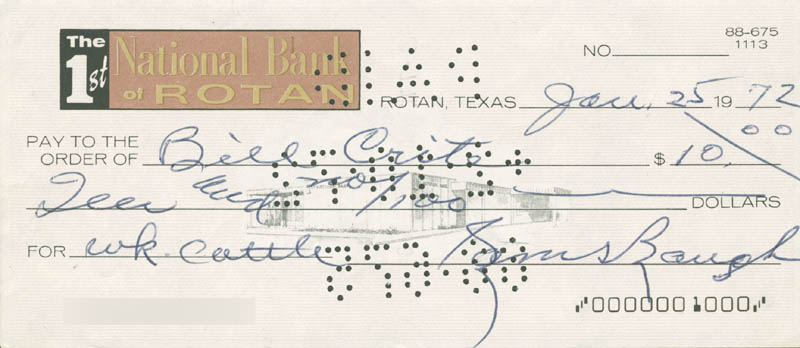 Image 1 for Sammy Baugh - Autographed Signed Check 01/25/1972 - HFSID 279775