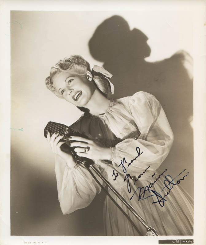 Image 1 for Marion Hutton - Autographed Inscribed Photograph - HFSID 279921