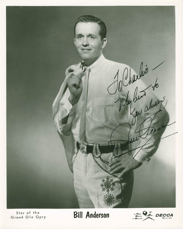 Image 1 for Bill 'Whispering Bill' Anderson - Autographed Inscribed Photograph - HFSID 280101