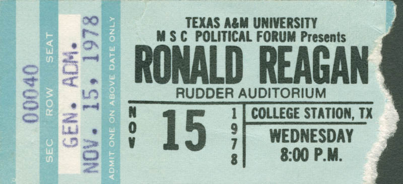 Image 3 for President Ronald Reagan - Ticket Signed Circa 1978 - HFSID 280193