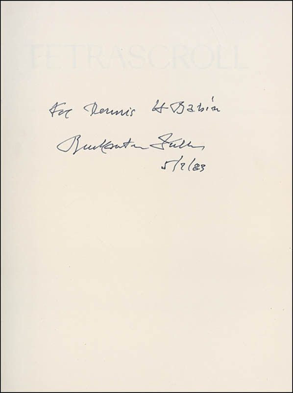 Image 1 for Buckminster Fuller - Inscribed Book Signed 05/07/1983 - HFSID 280287