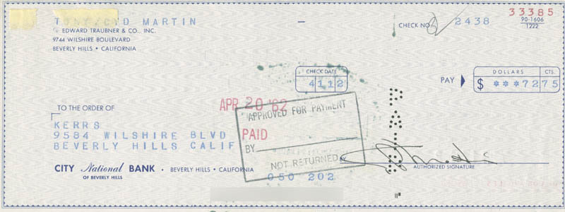 Image 1 for Cyd Charisse - Autographed Signed Check 04/11/1962 - HFSID 280373