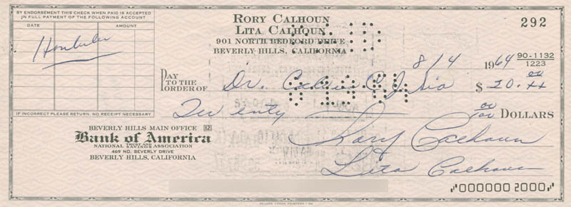 Image 1 for Rory Calhoun - Autographed Signed Check 08/04/1964 co-signed by: Lita Baron Calhoun - HFSID 280374