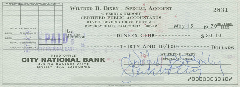 Image 1 for Bill Bixby - Autographed Signed Check 05/15/1970 - HFSID 280376