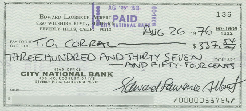 Image 1 for Eddie Albert - Autographed Signed Check 08/26/1976 - HFSID 280377