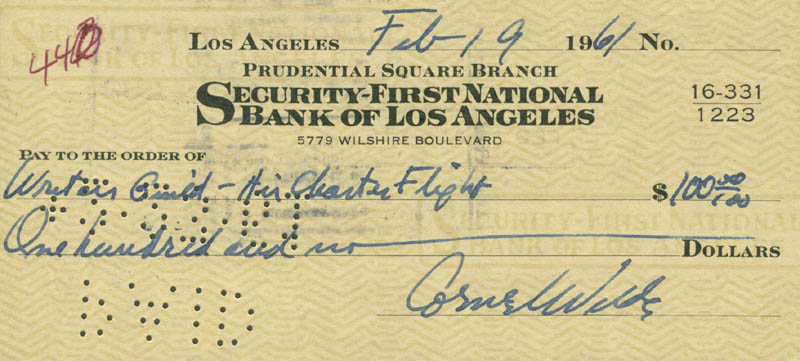 Image 1 for Cornel Wilde - Autographed Signed Check 02/19/1961 - HFSID 280381