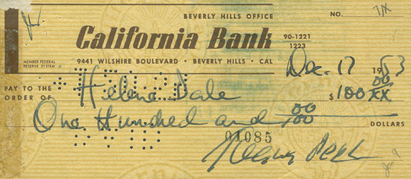 Image 1 for Gregory Peck - Autographed Signed Check 12/17/1963 - HFSID 280384