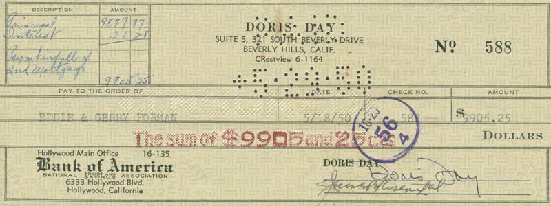 Image 1 for Doris Day - Autographed Signed Check 05/18/1950 co-signed by: Jerome Bernard Rosenthal - HFSID 280386