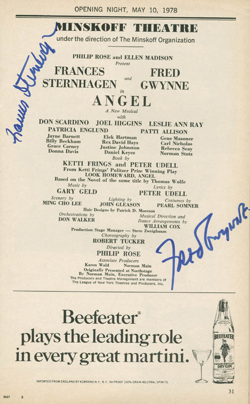 Image 1 for Angel Broadway Cast - Show Bill Signed co-signed by: Fred Gwynne, Frances Sternhagen - HFSID 280447