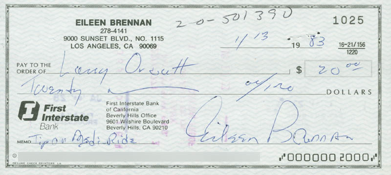 Image 1 for Eileen Brennan - Autographed Signed Check 01/13/1983 - HFSID 280476