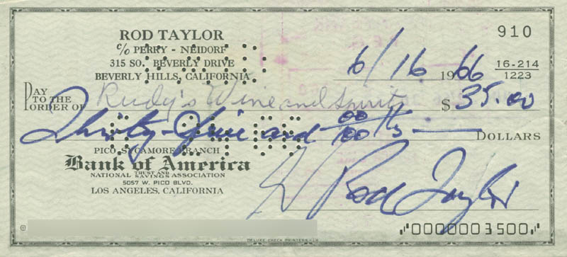 Image 1 for Rod Taylor - Autographed Signed Check 06/16/1966 - HFSID 280481