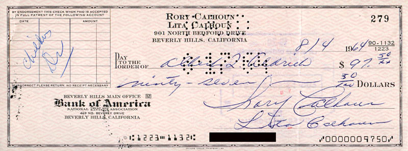 Image 1 for Rory Calhoun - Autographed Signed Check 08/04/1964 co-signed by: Lita Baron Calhoun - HFSID 280487