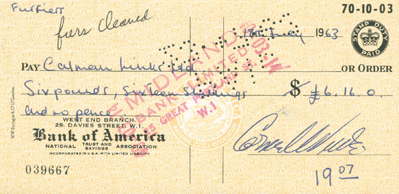 Image 1 for Cornel Wilde - Autographed Signed Check 07/18/1963 - HFSID 280547