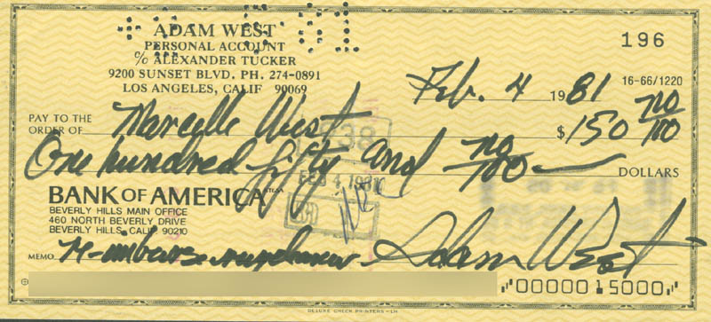Image 1 for Adam West - Autographed Signed Check 02/04/1981 - HFSID 280575