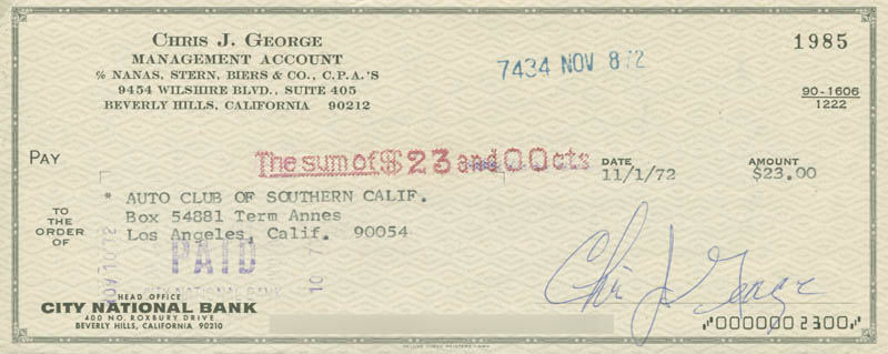 Image 1 for Christopher George - Autographed Signed Check 11/01/1972 - HFSID 280579