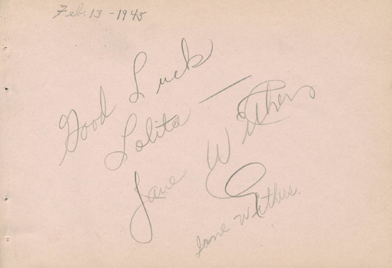 Image 1 for Jane Withers - Inscribed Signature co-signed by: Gil Lamb - HFSID 280738