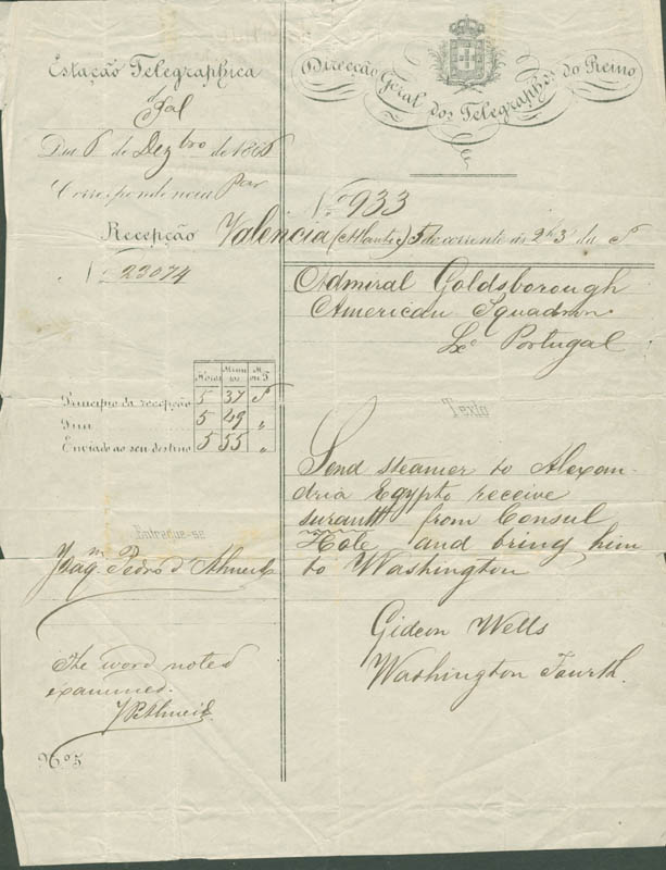 Image 1 for Gideon Welles - Telegram Unsigned 12/06/1866 - HFSID 280762