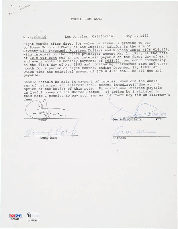Image 1 for Cher - Document Signed 05/01/1983 co-signed by: Sonny Bono, Denis Pregnolato, Sharon Kane - HFSID 280777