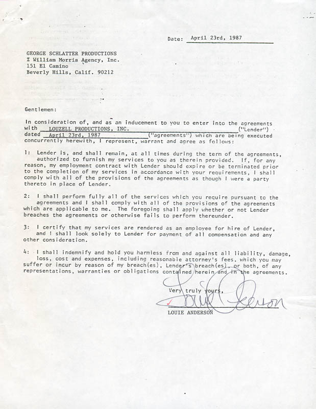 Image 1 for Louie Anderson - Document Double Signed 04/23/1987 - HFSID 280821