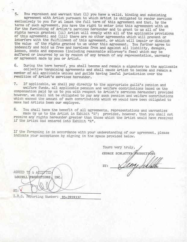 Image 3 for Louie Anderson - Document Double Signed 04/23/1987 - HFSID 280821