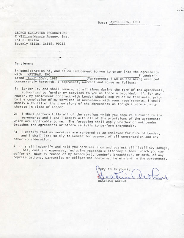 Image 1 for Beatrice 'Bea' Arthur - Contract Double Signed 04/30/1987 - HFSID 280824