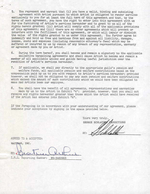 Image 3 for Beatrice 'Bea' Arthur - Contract Double Signed 04/30/1987 - HFSID 280824