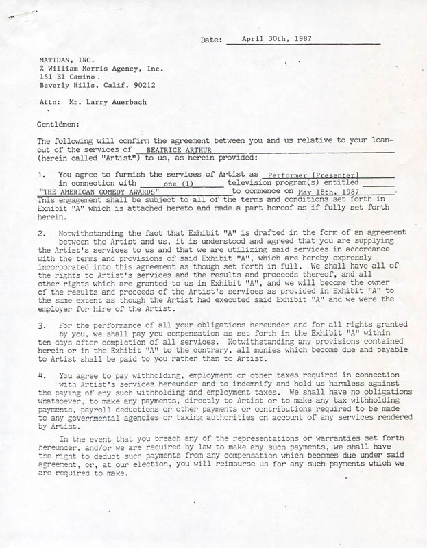 Image 4 for Beatrice 'Bea' Arthur - Contract Double Signed 04/30/1987 - HFSID 280824