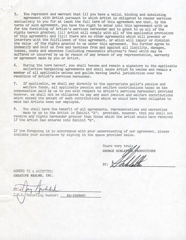 Image 3 for Army Archerd - Document Signed 04/28/1987 co-signed by: George Schlatter - HFSID 280829