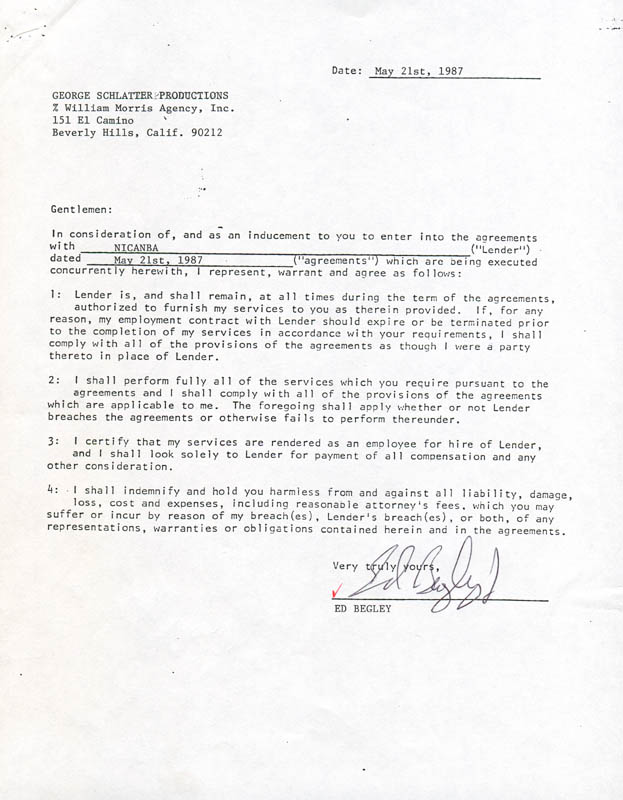 Image 1 for Ed Begley Jr. - Contract Double Signed 05/21/1987 - HFSID 280830