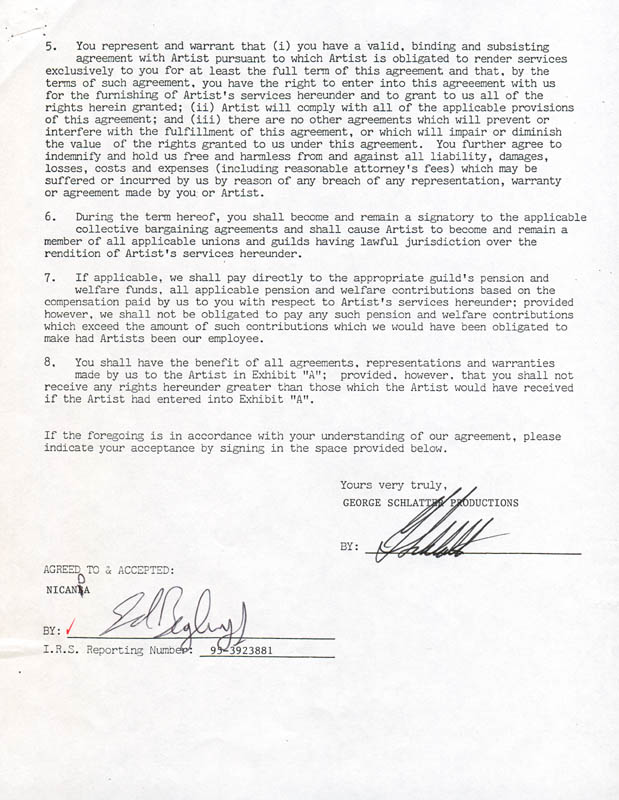 Image 3 for Ed Begley Jr. - Contract Double Signed 05/21/1987 - HFSID 280830