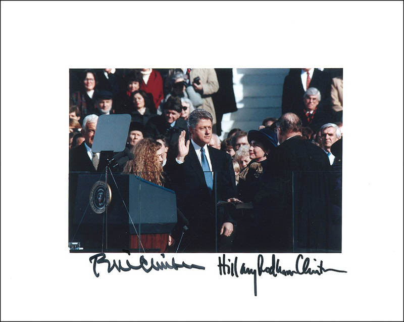 Image 1 for President William J. 'Bill' Clinton - Autographed Signed Photograph co-signed by: First Lady Hillary Rodham Clinton - HFSID 280907