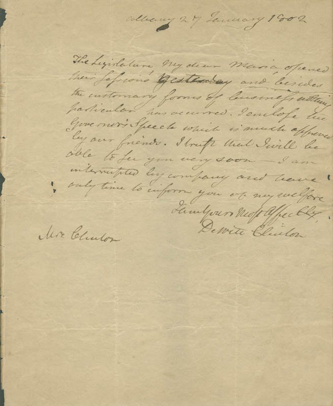 Image 1 for Governor Dewitt Clinton - Autograph Letter Signed 01/27/1802 - HFSID 280947