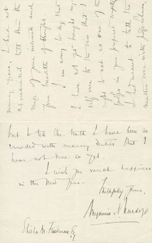 Image 1 for Associate Justice Benjamin N. Cardozo - Autograph Letter Signed 12/28/1928 - HFSID 281018