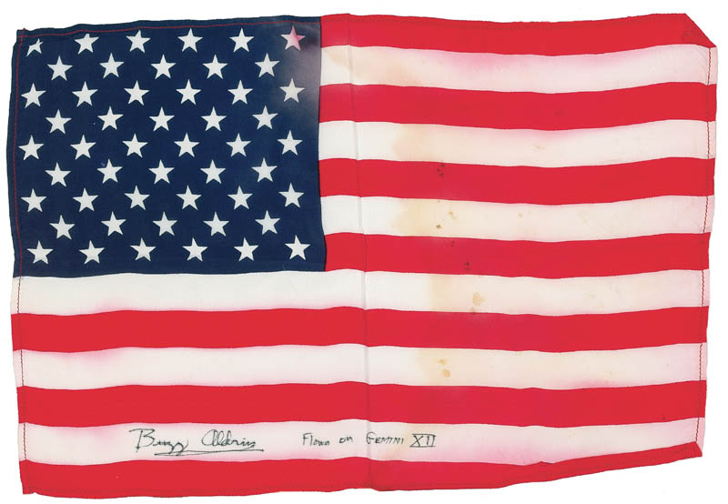 Image 1 for Colonel Buzz Aldrin - Flag Signed - HFSID 281103