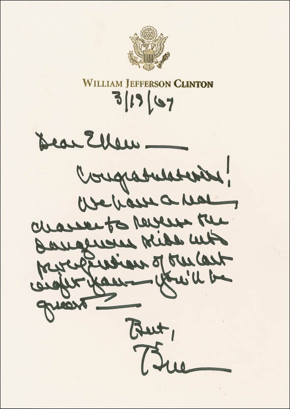 Image 1 for President William J. 'Bill' Clinton - Autograph Letter Signed 03/19/2007 - HFSID 281216