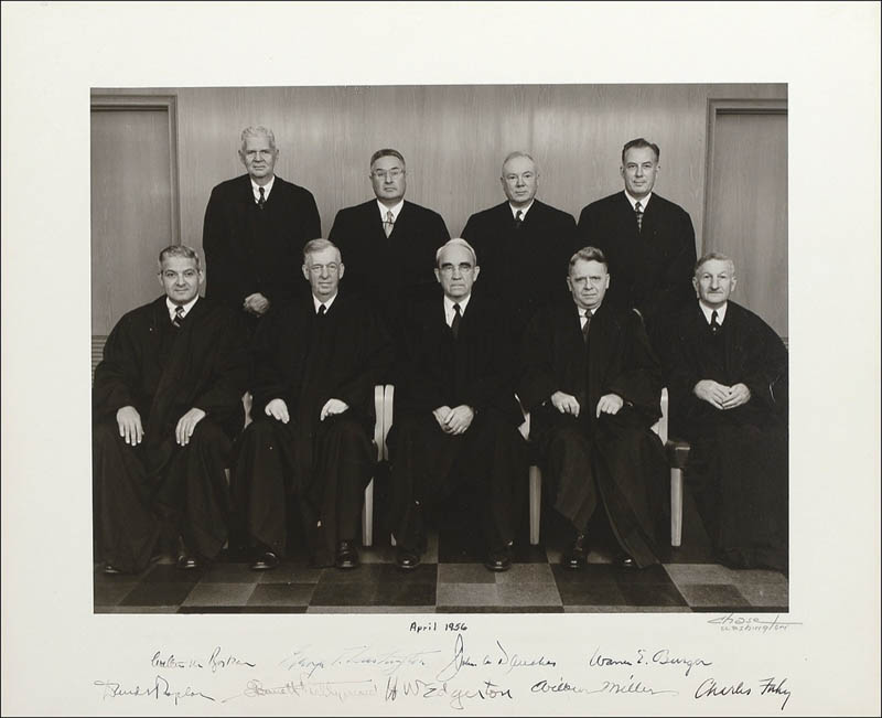 Image 1 for Chief Justice Warren E. Burger - Autographed Signed Photograph 04/1956 with co-signers - HFSID 281218