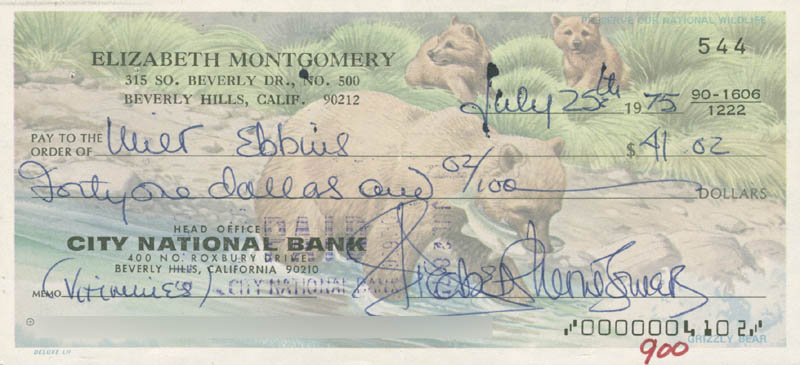 Image 1 for Elizabeth Montgomery - Autographed Signed Check 07/25/1975 co-signed by: Milton Ebbins - HFSID 281390